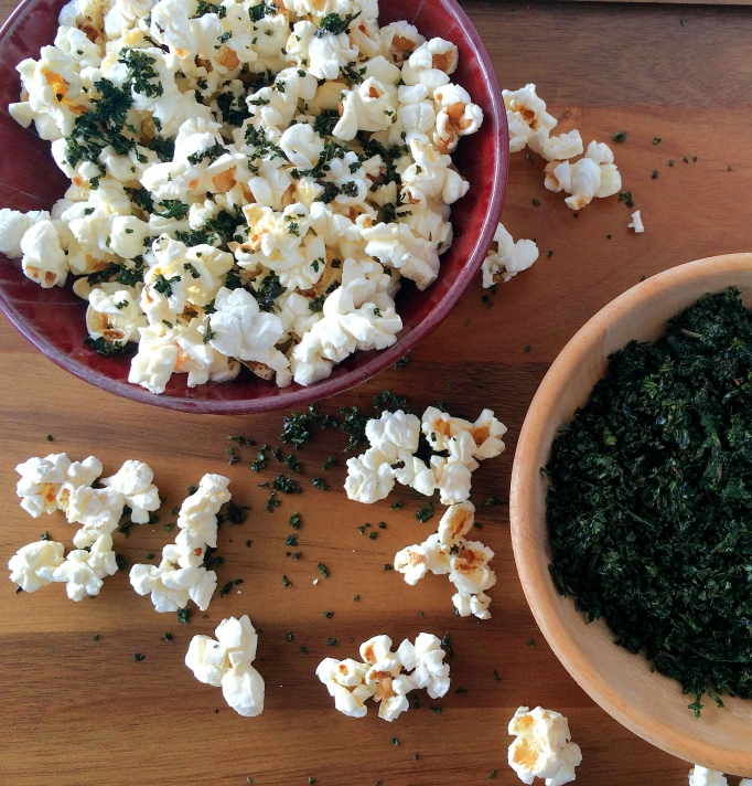 Kale dust on popcorn