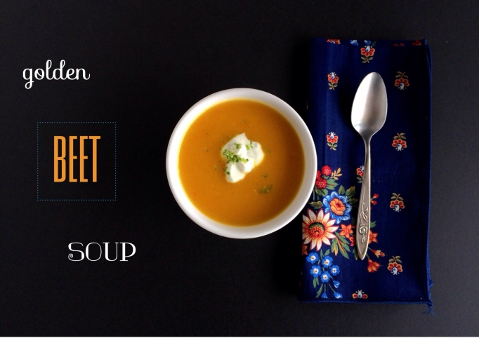 Golden Beet Soup with cumin and lime sour cream