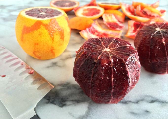Blood oranges peeled