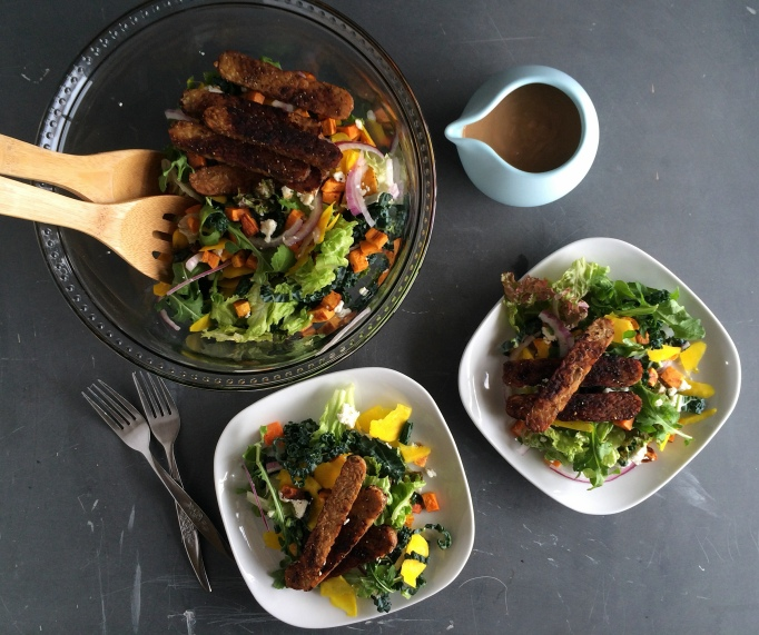 Salad Greens with Roasted Sweet Potato, Tempeh Sticks and Balsamic BBQ Dressing