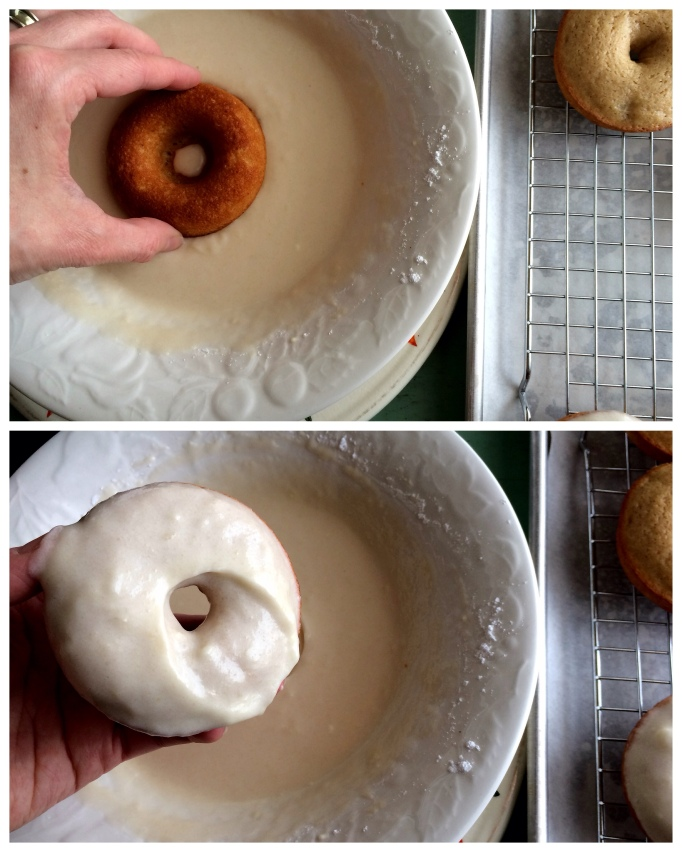 glazing pear donuts