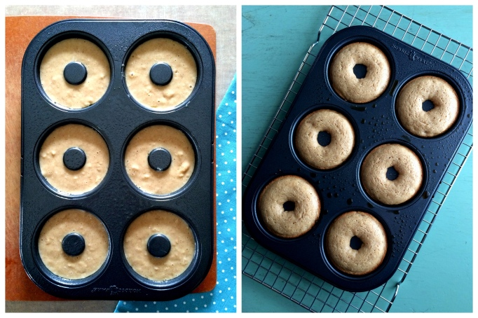 Pear donuts before and after