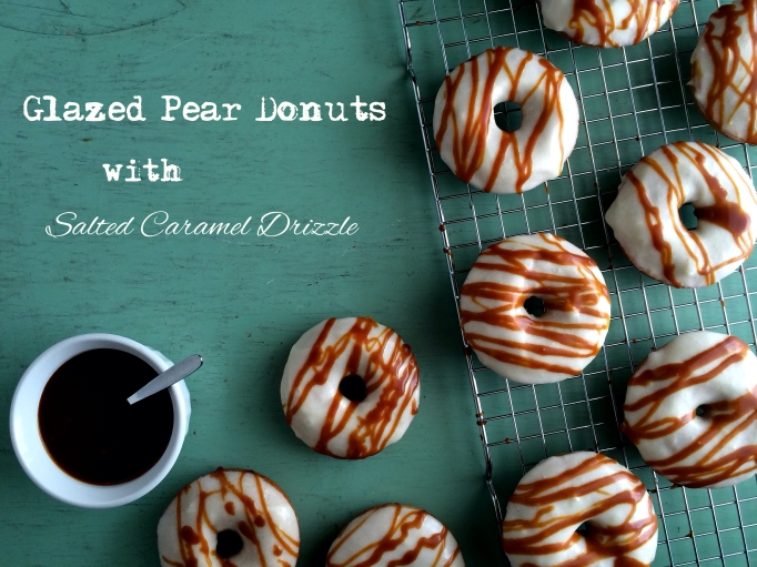 Glazed Pear Donuts with Salted Caramel Drizzle