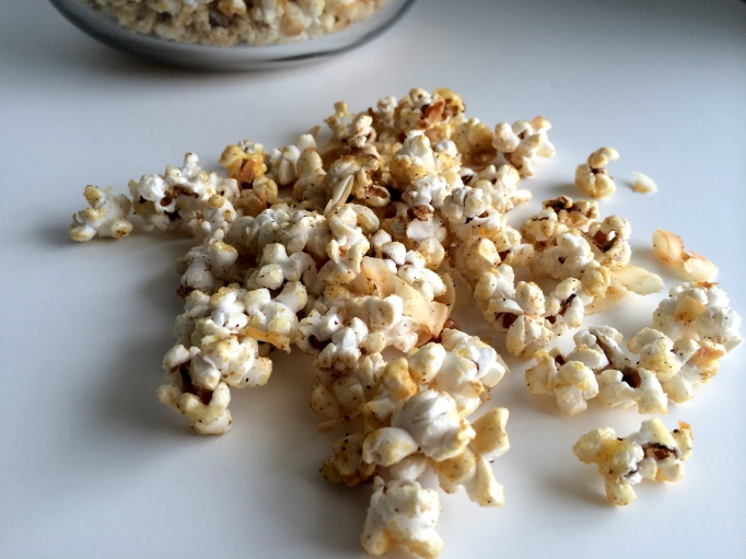Indian-spiced kettle corn with coconut flakes