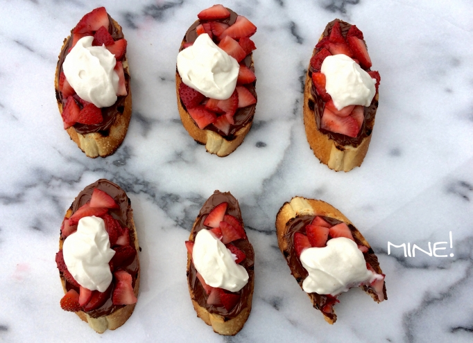 Strawberry Bruschetta w/ Nutella & Whipped Coconut Cream