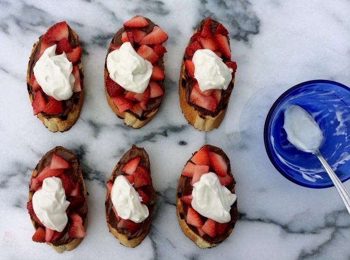 Strawberry Bruschetta w/ Nutella & Whipped Coconut Cream