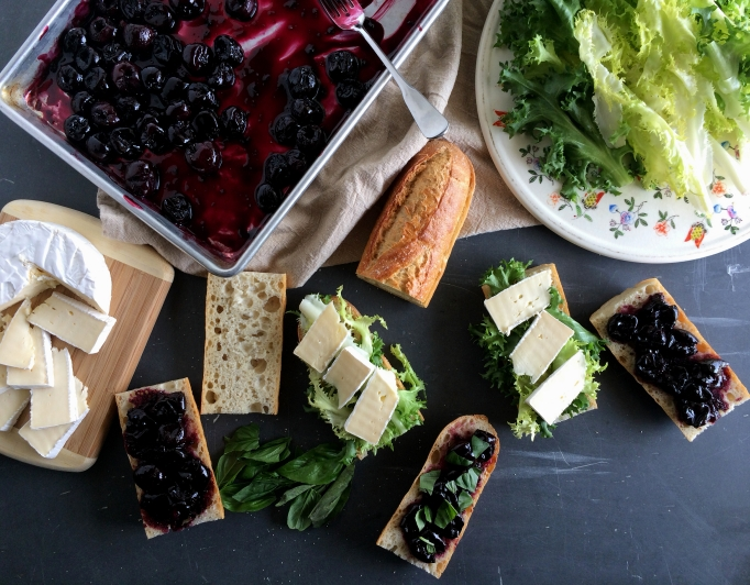 Roasted Cherry & Brie Baguette Sandwiches