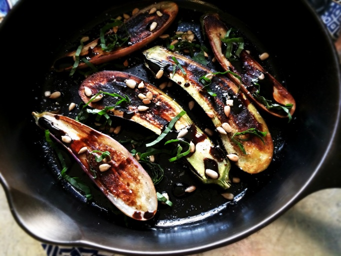 Charred Eggplant with Maple Balsamic Syrup