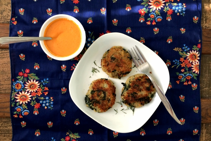 Potato Kale Cakes with Kimchee Mayo