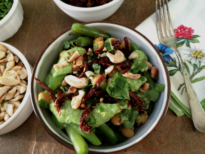 3-Bean Salad with Avocado Cashew Dressing