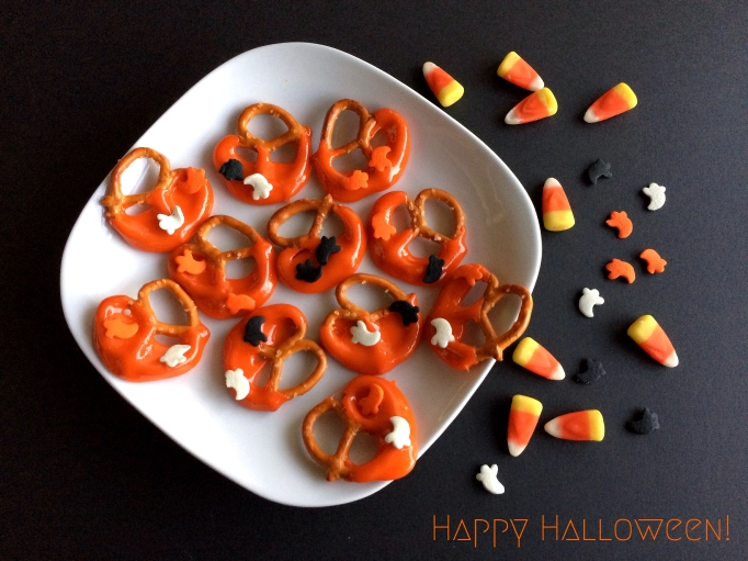 Candy Corn-Dipped Pretzels