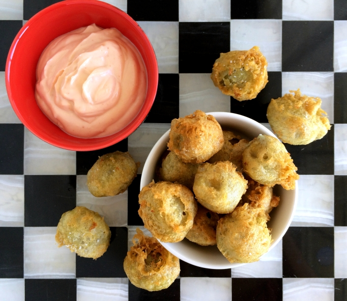 Beer Batter Fried Green Olives with Sriracha Mayo