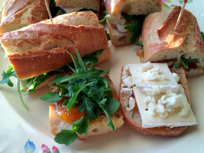 Apricot Brie Arugula Baguette Sandwiches