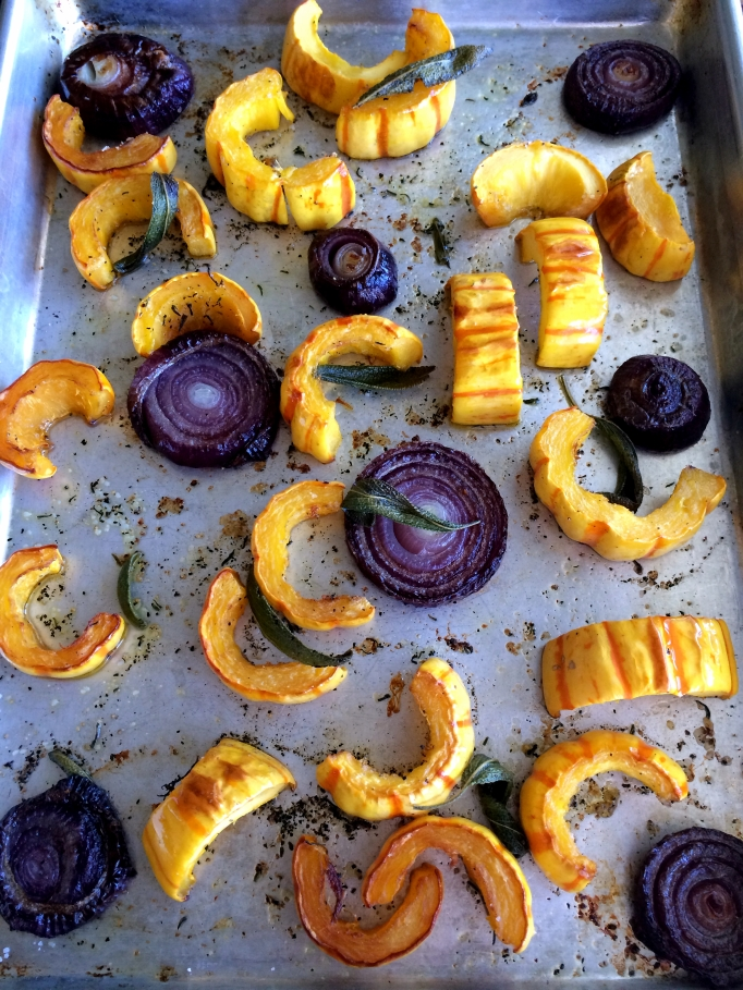 Arugula Salad with Roasted Delicata Squash & Red Onions