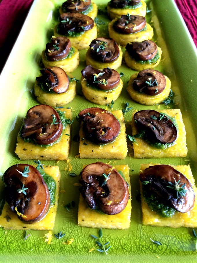 Lemon Thyme Polenta Bites with Arugula Pesto & Mushrooms