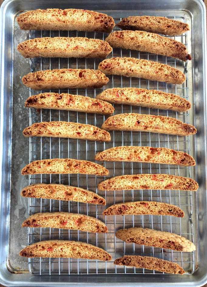 White Chocolate Covered Peppermint Biscotti