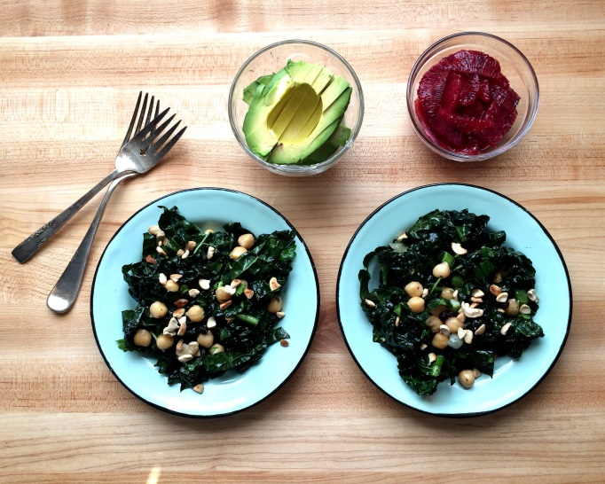 Citrusy Kale Salad with Avocado, Chickpeas and Cashews