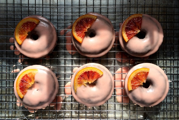 Baked Chocolate-Espresso Donuts with Blood Orange Glaze & Candied Blood Oranges