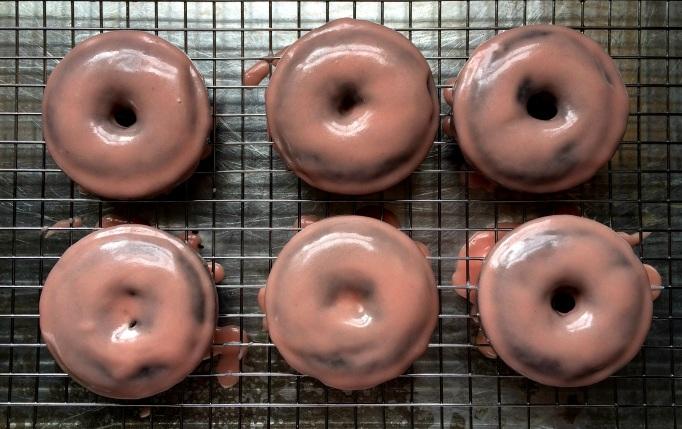 Baked Chocolate-Espresso Donuts with Blood Orange Glaze & Candied Blood Oranges