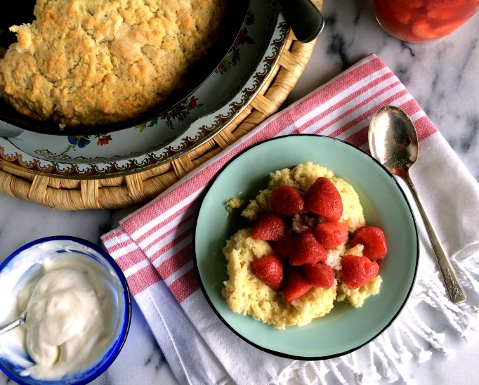 Skillet Shortcake with Fermented Strawberries